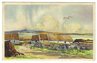 Donegal c1940s Art by Maurice Wilks: Cottages in Donegal: Signed: Wilks