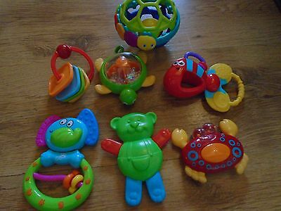 Baby Rattles Bundle, 6 Rattles and 1 Ball Rattle, vgc