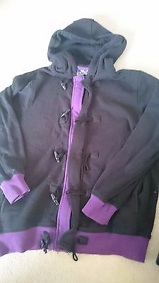 Lee Cooper Diversity inspired black and purple trimmed hoodie and cap age 11-12