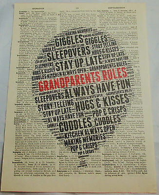 Grandparents Rules art print on old vintage dictionary page gift present Granny