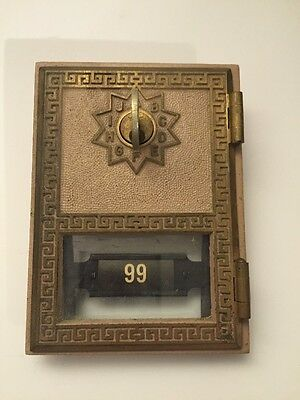 Antique Brass Keyed Post Office Mail Box Cover Plate or Door #99