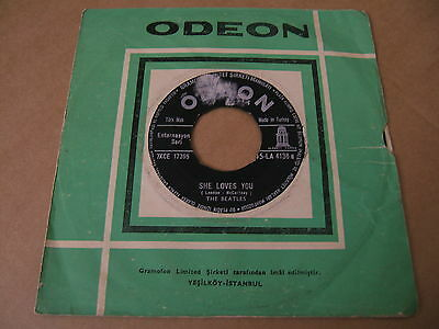 The Beatles TURKEY Odeon 1st press BLACK Label 4136 She Loves You Turkish 7""