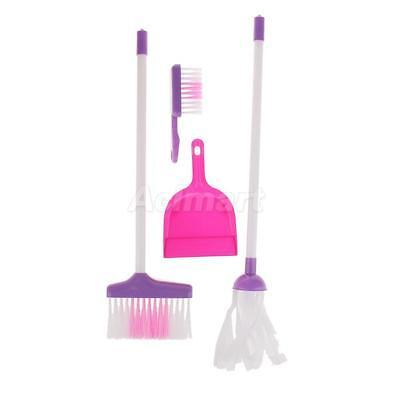 Pink Mop Broom Bucket Cleaning Tools Set Kids Girls Pretend Play Toys Gift