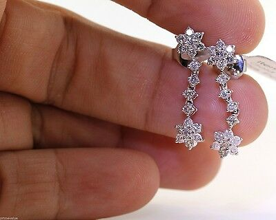 Gorgeous 14K White Gold Dangling Earrings With 1.06 Ctw Diamonds! #in24