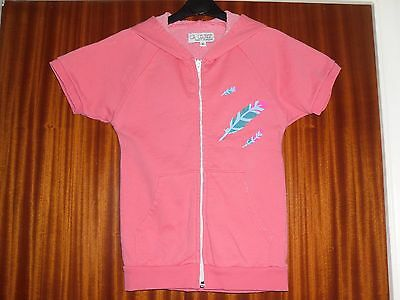 L.A. Lounge-6yrs-Coral Short Sleeved Hooded Zipper with Feathers.Cotton100%.
