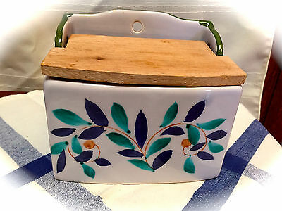 Sweet Vintage Ceramic & Wood Wall or Counter Salt Box holder cellar hand-painted