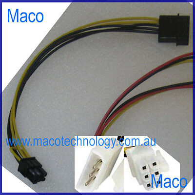 4 Pin Molex Cable to 6 Pin Male PCI Express Video Card Power Cable, 2 for $13