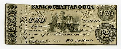 1863 $2 The Bank of Chattanooga, TENNESSEE Note - CIVIL WAR Era