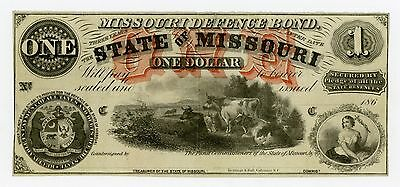 1860's $1 The State of MISSOURI Note w/ W.T. & Co. Watermark