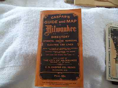 1916 Milwaulkee Guide & Fold Out Map Caspar's, Breweries, Harley