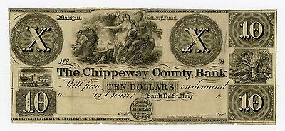 1800's $10 The Chippeway County Bank - Sault De St. Mary, MICHIGAN Note