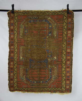 Distressed Antique Persian Rug Floral Pattern Wool Double Sided Throw Area Rug