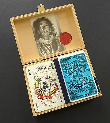 SALVADOR DALI Playing Cards Double Deck in Wood Box 2nd Edition 1969 France Rare