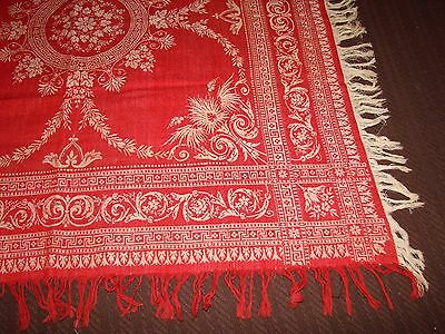 """Antique Red Linen Damask Bridge, Luncheon Tablecloth with Fringe - 29"""""""