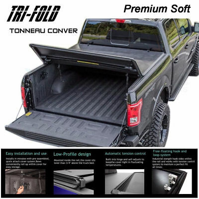 "Fits 2009-2017 DODGE RAM 1500 Premium Soft Tri-Fold Tonneau Cover 6.5 ft 78"" Bed"