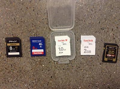 Lot of 5 USED SD CARDS