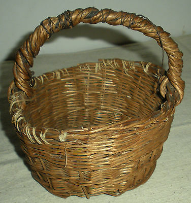ANTIQUE c1850-80 PLAINS NATIVE AMERICAN INDIAN REED BASKET vafo