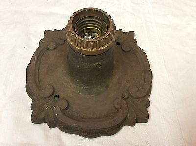Antique Cast Iron Arts & Crafts Porch Ceiling Fixture Marked P328 Heavy NICE