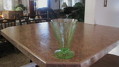 "Hocking Green CAMEO Ballerina Depression Glass 4 7/8"" Footed Tumbler"