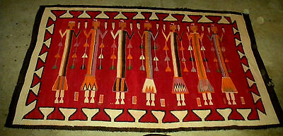 ANTIQUE c1910 NATIVE AMERICAN INDIAN NAVAJO YEI RUG GREAT RED BROWN PURPLE vafo