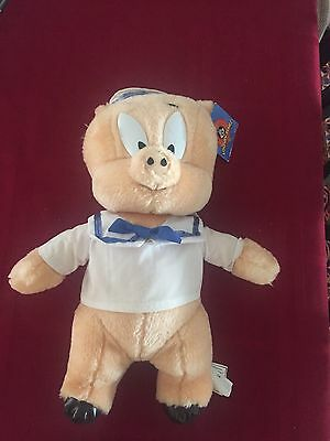 1998 Ace Looney Tunes Warner Bros Porky Pig Navy Sailor Plush