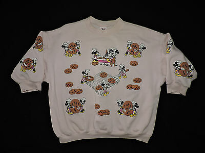 Vtg 80s Mickey Mouse Minnie Chocolate Chip Cookie Pullover Sweatshirt L Disney