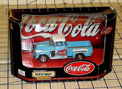 Matchbox Diecast Coca-Cola 1956 Chevy 3100 Pickup Trick 1:43 Scale  #37971 MIB