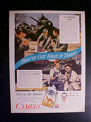 "1943 WWII Camel Cigarette Ad ""The Tanks are Great - And Thanks for the Camels"""