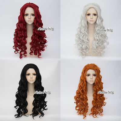 Fashion Black / Red / Orange Long 80CM Curly Lolita Lady Cosplay Wig + Wig Cap