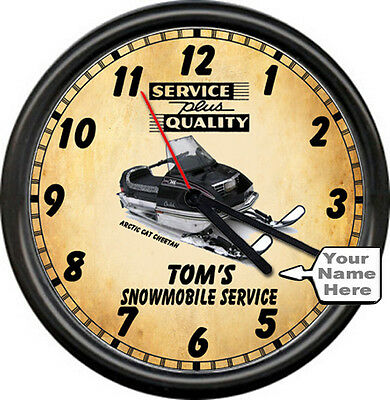 Personalized Snowmobile Arctic Cat Cheetah Retro Vintage Service Sign Wall Clock