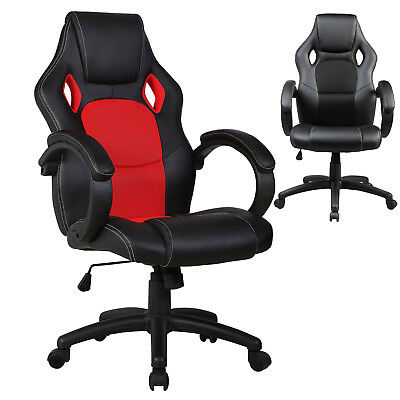 Racing Style Gaming Chair Executive Lift Recliner PU Leather Computer Black Red