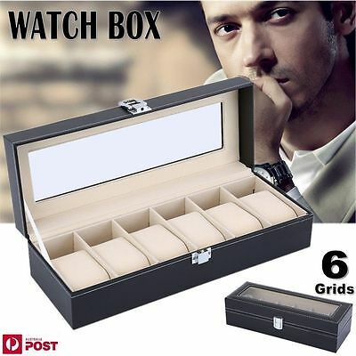 6 Grids PU Leather Watch Display Case Jewelry Collection Storage Holder Box Gift