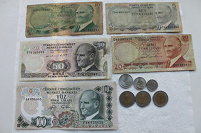 Turkey Banknotes(5) 1970 and Coins (6) 2002-2005 some in great condition