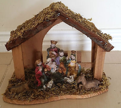Rustic Manger 3 Wise Men Baby Jesus Nativity Christmas XMAS Decoration wooden