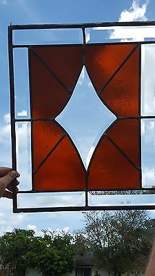 Stained Glass - Amber Stained Glass Diamond Window