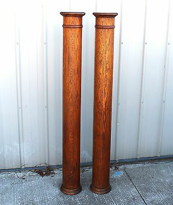 TWO 58 1/2 ins.1900 1910 SOLID OAK HOME HOUSE ARCHITECTURAL TALL COLUMNS