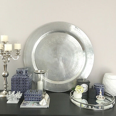 HUGE Silver Platter/Handmade Metal Tray/Plate/Etched design/Wall Art