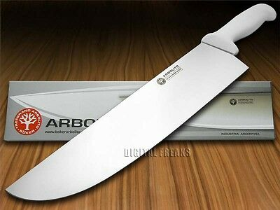 """BOKER ARBOLITO Kitchen Cutlery White Synthetic Poly 12"""" Stainless BBQ Knife"""