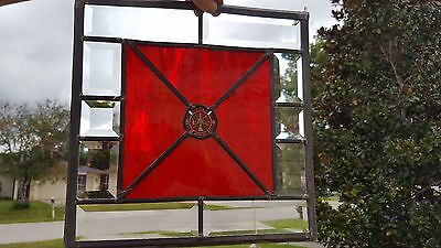 Firefighter Stained Glass with Firefighter Challenge Coin w/Bevels & Fire Glass