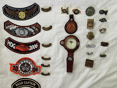 Harley-Davidson Pocket Watch & Leather Fob +  Pins, Patches & Belt