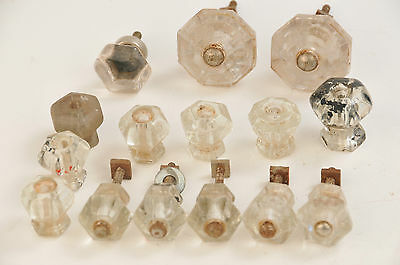 LOT of 15 Antique Glass Handles Bureau Drawer Pull Cupboard Old Tool Hardware