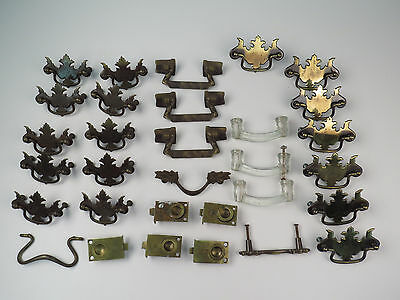 Lot of 31 Antique VTG Brass Glass Hardware Drawer Pulls Cupboard