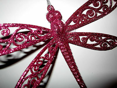 ~*~Hot Pink Glittery  Dragonfly Spring Easter Decoration Ornament