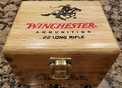 NEW Cabela's Winchester Wooden Oak Wood Ammo Box For 22 LR  (NO AMMO INCLUDED)
