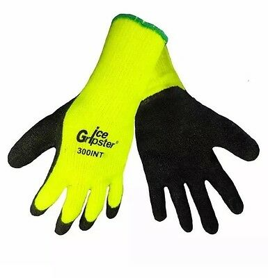 1 Pair 300INT-L Ice Gripster Winter Thermal Rubber Coated Insulated Gloves Large