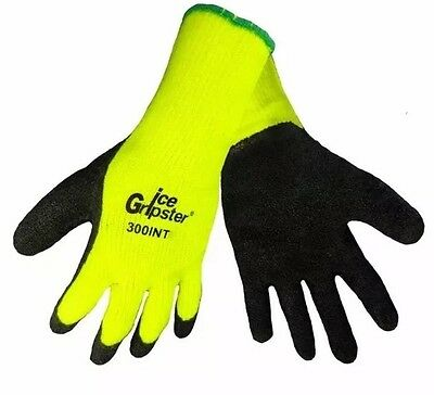 1 Pair 300INT-Medium Ice Gripster Winter Thermal Rubber Coated Insulated Gloves