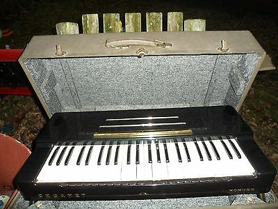 Vintage 1950s Hohner Organet Organ Black w/ Stand Case Working Condition