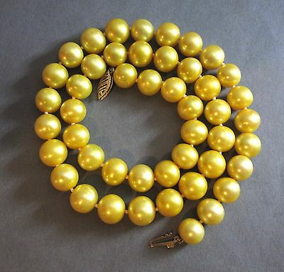 """Vintage 9-10MM Golden Yellow Cultured Pearl Necklace 14K Clasp 18"""""""