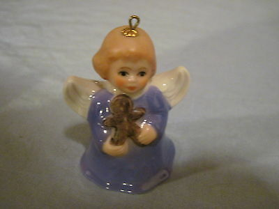2001 Goebel ANGEL BELL ORNAMENT Blue with Gingerbread Man