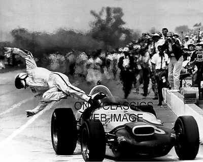 1964 Parnelli Jones Bails Out Car Alcohol Fuel Fire Indy 500 Photo Auto Racing